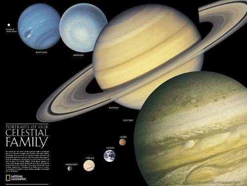 The Solar System: 2 Sided Wall Map - Laminated (24.25 X 18.25 Inches): PP.NGSP620021 (National Geographic Reference Map) ()