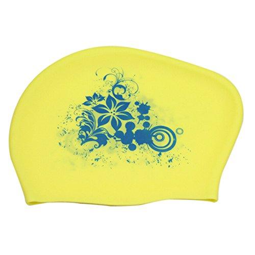 TININNA Frauen Silikon Schwimmen Kappe Berufs wasserdichtes Drucken langes Haar Schwimmen Kappen Ohr Verpackungs Schwimmen Hut Bademütze (Gelb) (Blumen-schwimmen-kappe Mädchen Für)