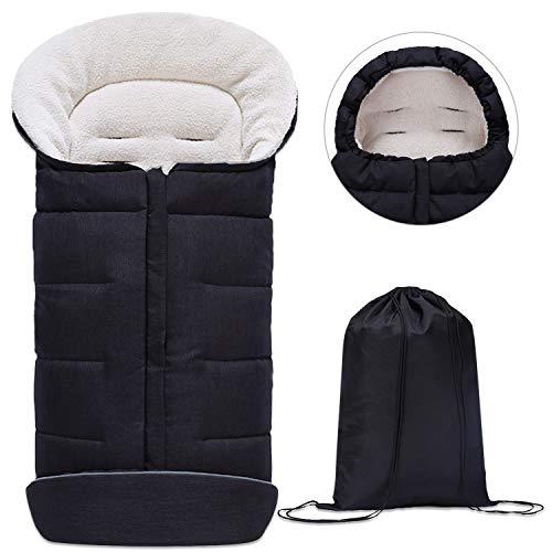Minetom Saco de Invierno Universal para Cochecito Saco de Dormir para Bebé Saco para Pies de Bebés Protección Antideslizante Cálido Vello de Cordero Suave y Tiras Reflectores - Ideal para Bebés