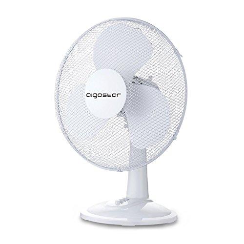 Aigostar Vicki 33JTM - Ventilatore da tavolo, silezioso. 2 impostazione di velocità, 25W, 9 pollice, 1,73KG, oscilazione di 80 gradi. Design esclusivo