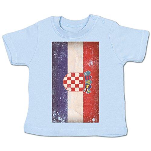 Shirtracer Fußball-Weltmeisterschaft 2018 - Baby - Kroatien Flagge Vintage - 12-18 Monate - Babyblau - BZ02 - Babyshirt Kurzarm