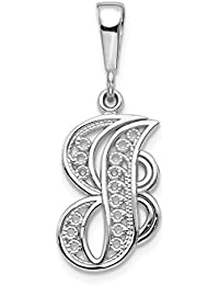 14k White Gold Solid Filigree Initial Monogram Name Letter J Pendant Charm Necklace Fine Jewelry Gifts For Women - Valentines Day Gifts For Her