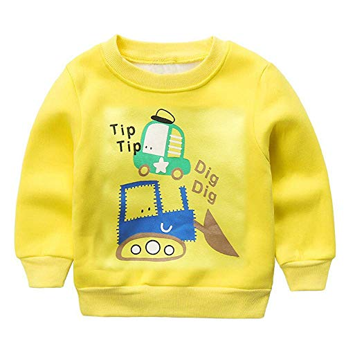 Missoul Kids Sweatshirt,0-24 Months Newborn Baby Clothes Toddler Boys Girls Long Sleeve Letter Print Casual Pullover Sweatshirt O Neck Blouse Shirt Children Casual Outfit Clothes (Yellow) -
