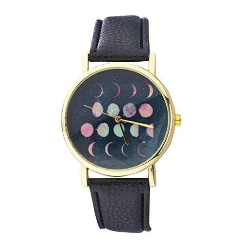 LUX Zubehör Gold Ton und Schwarz Phases of the Moon Face Watch