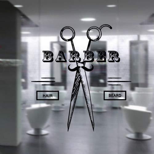 56X56 cm Modische Bärte Schnurrbart Haar Wohnzimmer Dekor Friseursalon Stil Friseursalon Haarschnitte Kunst Wandtattoo Aufkleber