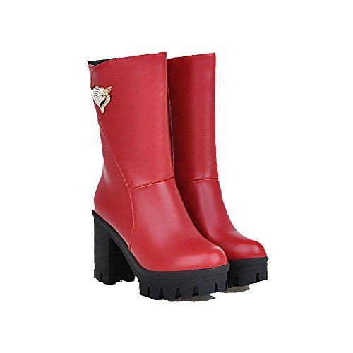 AllhqFashion Damen Hoher Absatz Rund Zehe Reißverschluss Stiefel mit Beschlagene Strass Rot