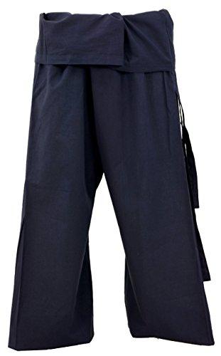 Guru-Shop Thai-Baumwoll-Fischerhose, Wickelhose, Yogahose - Marineblau, Herren/Damen, Baumwolle, Size:One Size, Fischerhosen Normale Größe Alternative Bekleidung -