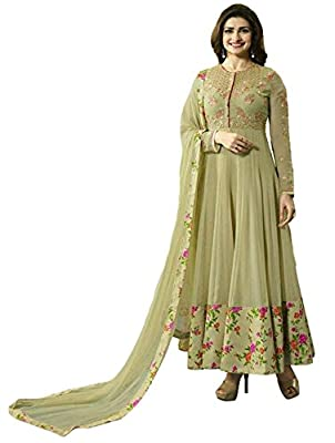Clickedia Women's Heavy Georgette Semi-stitched Beige Embroidered Floor Length Anarkali Suit - Dress Material