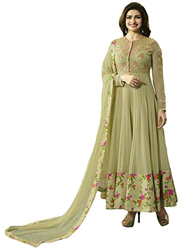 Clickedia Women\'s Heavy Georgette Semi-stitched Beige Embroidered Floor Length Anarkali Suit - Dress Material
