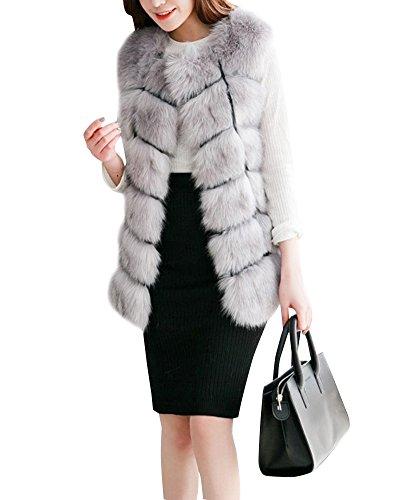 Donne gilet di pelliccia sintetica senza maniche giacche cappotti outwear grigio chiaro l