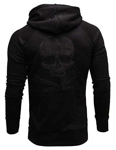 Crone Herren Skull Hoodie Kapuzenpullover Sweatshirt Pulli Totenkopf Pullover mit Kapuze in 3 Farben aus 100% Premium Baumwolle (M, Schwarz)