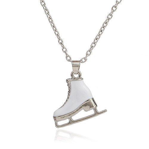 Weiß emaillierter Anhänger-Schmuck für Damen, Halskette, Eislaufen