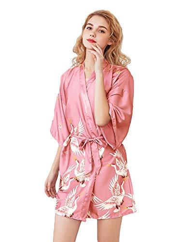 HAINE Seide Satin Kimono Kleid Pfau Muster Kimono Bademantel mit Gürtel Schlafmantel Girl Pajama Party (Rosa-L)