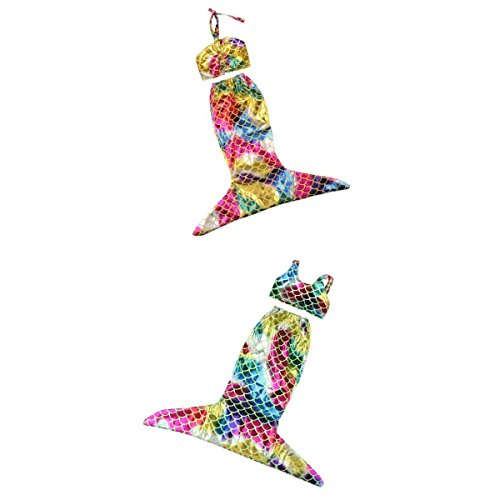 P Prettyia 2 Sets Mode Bunte Meerjungfrau Kleid Bademode Badeanzug Für 18 Zoll Weibliche Puppen Kleidung Dress Up