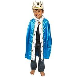 Lucy- Costume Roi pour Enfants - Cape et Couronne Royales - Bleu - 3-8 ans