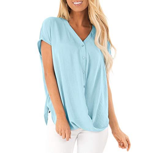 Womens Loose Plain Bluse, Kurzarm V-Ausschnitt Button-Down-T-Shirts Sommer Mode lässig Chiffon Top für Damen -