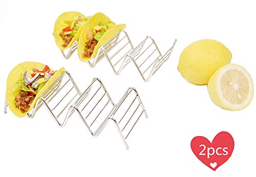 Fyuan Taco Halter, Edelstahl Mexican Essen Ständer Rack Shells für Hard oder Soft Shell Tacos, 2er Pack