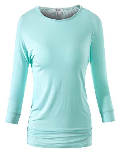 Escalier Donne 3/4 manica Drape solido maglietta lunga Top (Medium, blu)