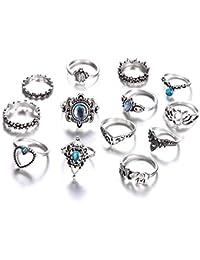 Shining Diva Fashion Latest 7-14 Pcs Set Boho Midi Finger Crystal Rings for Women & Girls