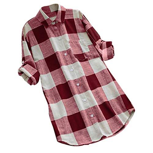 OverDose Boutique Damen Langarmshirt Tunika Tops Verstellbarer Ärmeln T-Shirt V-Ausschnitt Button-down Tasche Kariert Farbblock Freizeit Hemden Bluse Oberteile Große Größen ()