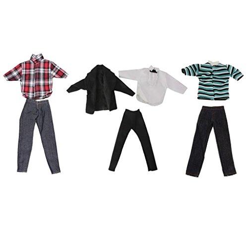 Gazechimp 3 Set Puppenkleidung Anzug Für Ken Barbie Puppen, Inkl Puppe T-Shirt, Hemd, Hosen, Jeans, Mantel, (Prince Up Kostüm Dress)