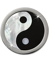 Adamello mujer coin Yin Yang nácar para coin versión de 25 mm de acero inoxidable ESC742S