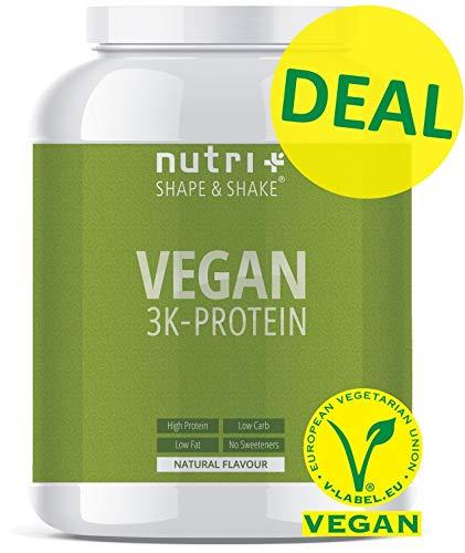 VEGANES EIWEIßPULVER Neutral ohne Süßungsmittel - 85,8{97d87d77bcf42856bfe44f425c9a143e1a897ce32541ce431590f6fbaa313da6} Eiweiß - 1kg - Nutri-Plus Shape & Shake Vegan - Natural Proteinpulver unflavored - natürlich auch zum Kochen und Backen