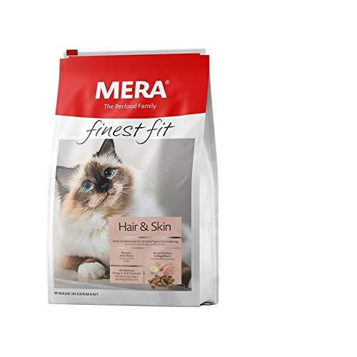 MERA finest fit Hair & Skin Katzenfutter – Weizenfreies Trockenfutter mit frischem Geflügel für Katzen mit Haut- und Fellproblemen – 1 x 4 kg