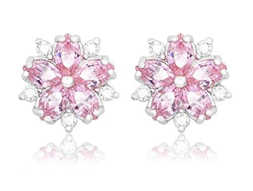 KristLand - Damen Elegante Mode Ohrringe mit AAA Zirkonia Ohrstecker Ohrringe in Form einer rosa Blume mit Weißgold vergoldetzt|S925 Silbernadel| Hochzeiten| Frauen Schmuck| Geschenkbox - Ohrringe Diamond Baumeln