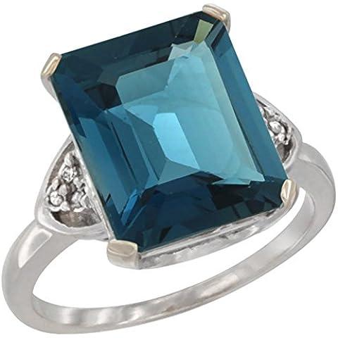 Revoni 14ct de oro blanco de Natural azul de 12 x 10 mm Topaz anillo Diamante acento charreria