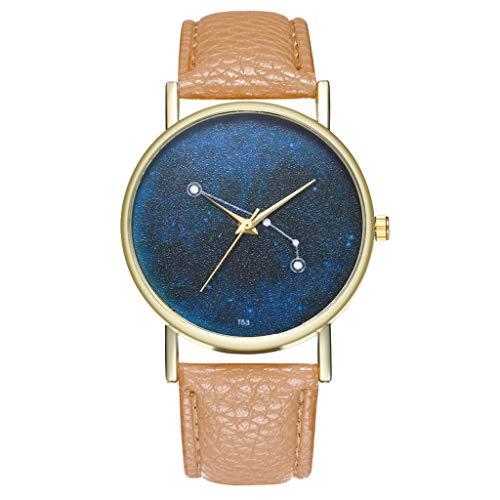 Armbanduhr Modern Ultraflach Lederarmband Khaki -