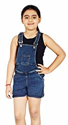 Naughty Ninos Girls Cotton Denim Dungaree (NN00124DRS-78, Blue, 7-8 Years)