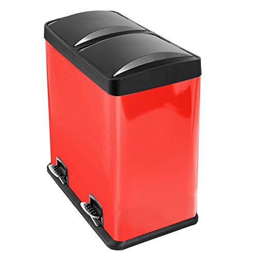 Image of Mari Home - Red 60 Litre Steel 2 in 1 Foot Pedal Recycle Bin Dustbin 2 x 30L Recycling Inner Compartments Section Garbage Kitchen Eco Waste Silver Trash Can