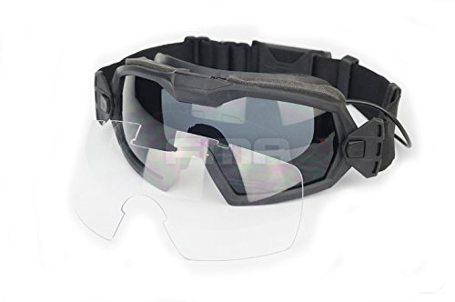 Fan Version Kühler Brille Regulator Schutz Brillen für Sport Bike Radfahren Fahren Tactical Paintball Softair Ski Snowboard 2 Farben (schwarz, DE) (schwarz) (Airsoft Schutzbrille-fan)