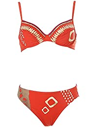Olympia Bügelbikini Set NEU Gr.34,36,38,40,42 Cup-A,B,C Damen Softcups Rot//Grün