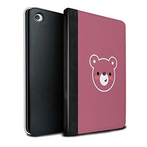 Stuff4® PU-Leder Hülle/Case/Brieftasche für Apple iPad Mini 4 Tablet/Teddybär Kunst Muster/Niedliche Minimalistische Tiere Kollektion (Teddybär Fall Ipad Mini)