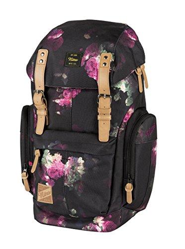 Daypacker Alltagsrucksack im Retro Look mit Gepolstertem Laptopfach, Schulrucksack, Wanderrucksack oder Streetpack, Größe und Schnitt ideal für Frauen, Black Rose