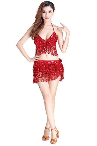 Hougood Latin Kleider für Damen Bauchtanz Kostüm Latin Indian Bauchtanz Pailletten BH Top + Sexy ()