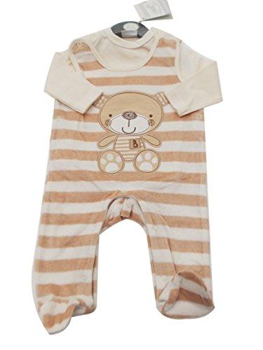 BNWT Tiny Baby Prematuri Neonato Bambino in velluto beige Salopette Orsetto vestiti Beige 6-9 Mesi