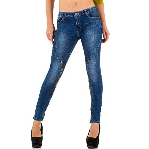 Damen Jeans, USED LOOK STRETCH SKINNY JEANS, KL-J-Q1751 Blau