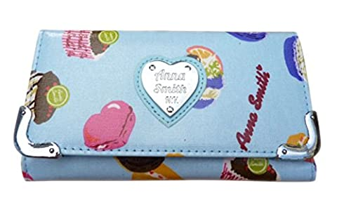 New Womens Girly HandBags Cupcake Print Oilcloth Purse Ladies Gift Designer -- Light Blue