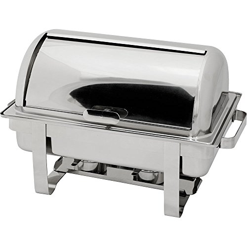 Roll-Top Chafing Dish GN 1/1 Wasserbad Speisenwärmer 660 x 400 x 335 mm 9 Liter Edelstahl mit Tragegriffen Brennpastenbehälter Deckel 90°-Winkel 9 Liter Chafing Dish