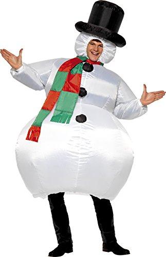 Smiffys, Herren Aufblasbarer Schneemann Kostüm, Anzug mit Hut, Schal und selbstaufblasendem Gebläse, One Size, (Anzug Schneemann)