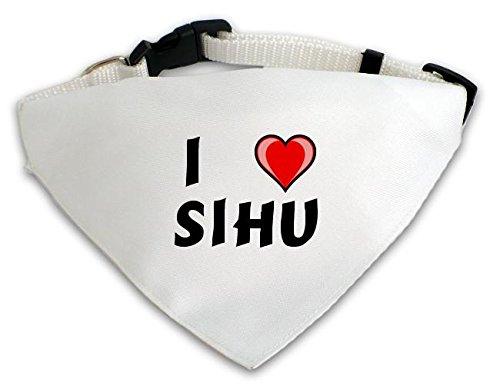 Personalisierter Weißer Hundschal mit Aufschrift Ich liebe Sihu (Vorname/Zuname/Spitzname)