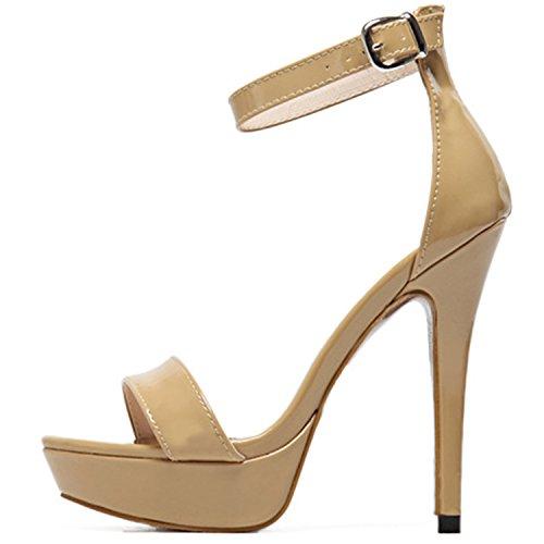 Oasap Women's PeepToe Platform High Heels Ankle Strap Sandals apricot