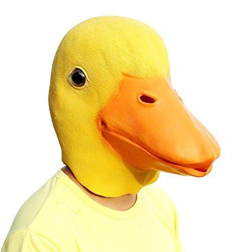 PartyCostume - Ente Maske - Halloween Latex Tier Den Kopf Voll ()