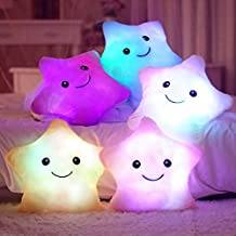 Cojin Infantil con Luces LED para Ñiños y Niñas con Forma de Estrella 29cm Luz Nocturna