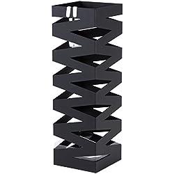 SONGMICS Paragüero Soporte de Paragüas Cuadrado (49 x 15,5 x 15,5 cm) Negro LUC16B