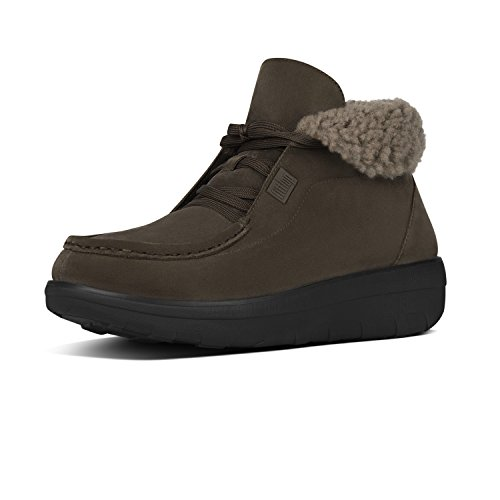 Fitflop Bottines à Lacets Loaff TM Lace Up Ankle Boot Shearling Bungee Cord Suede Marron