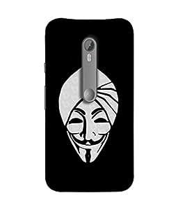 FUSON Designer Back Case Cover for Motorola Moto X Style :: Moto X Pure Edition (Vector Illustration Turban Headdress And Mustache Isolated)